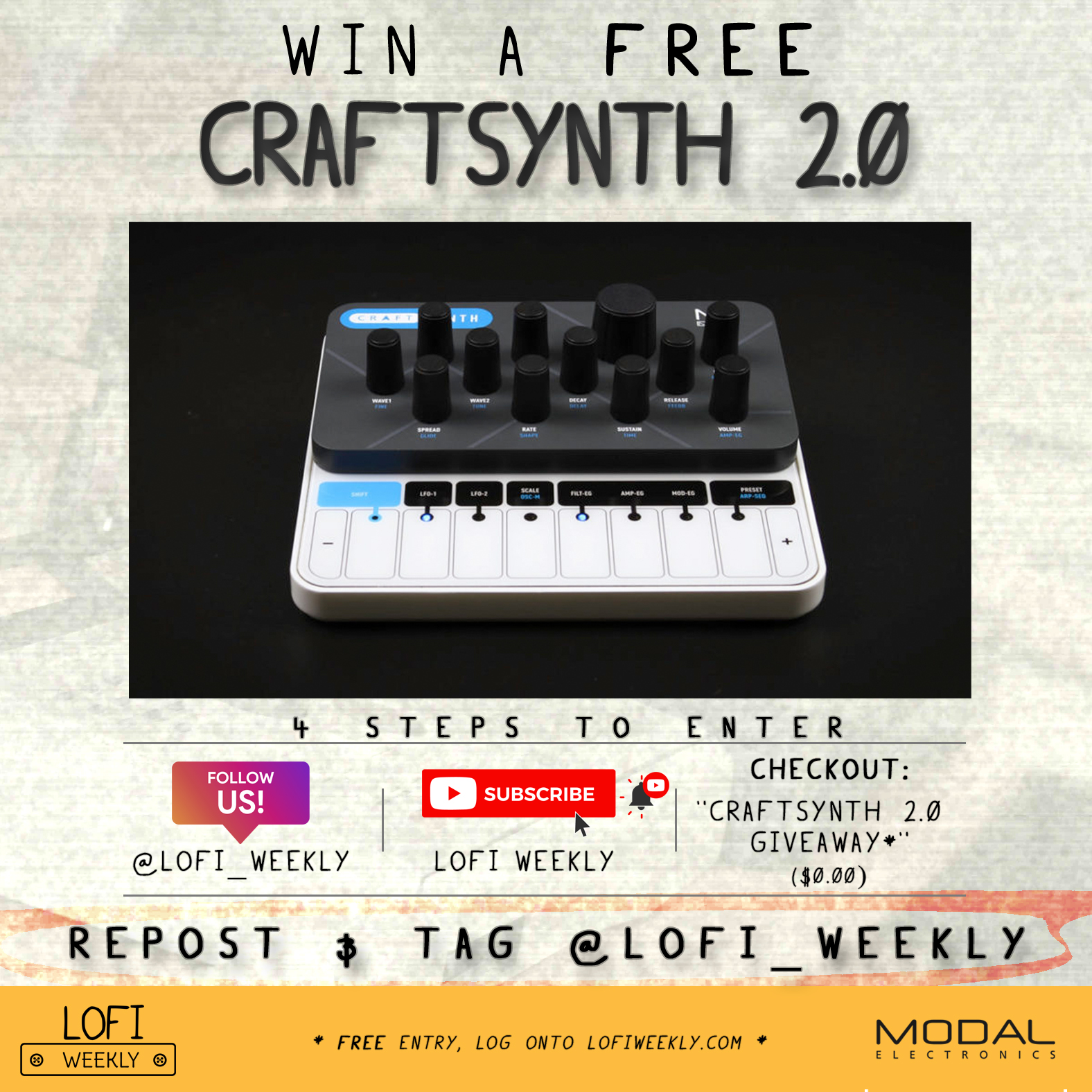 LoFi Weekly - CRAFTsynth 2.0 Modal Electronics Giveaway